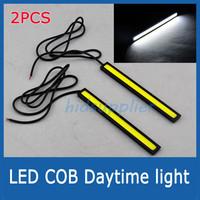 2PCS 12V Super Bright White COB LED DRL Driving Daytime Running Lights lamp Aluminum Chip Bar Panel