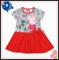 Nova girl print dress brand peppa pig cotton embroidery dresses new 2014 baby girl clothing fashon party dress for girls  H4221