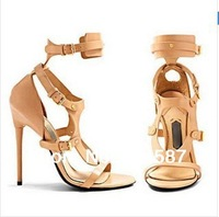 2014 New Design women summer short gladiator sandal boots buckles high heel sandals