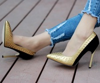 Sexy pointed toe metal thin heels ultra high heels single shoes plus size rivet female shoes low-top 40