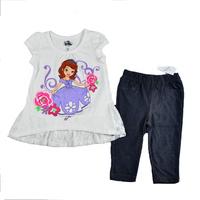 EXCLUSIVE!  Free shipping NWT high quality 4sets/lot girl summer clothing set printed sofia princess lace hem t shirt & pant