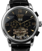 New Luxury Russia Slava Clock Automatic Mechanical Classic Hours Multifunction Men's Gift Dress Leather Hand Watch