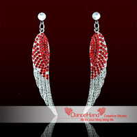 Free Shipping New Red Angel Wing Rhinestone Crystal Dangle Stud  Middle East Crystal Jewelry Earrings