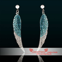 Free Shipping New Lake Blue Angel Wing Rhinestone Crystal Dangle Stud  Middle East Crystal Jewelry Earrings