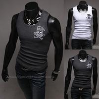 2014 Dark gray male elastic vest o-neck undershirt vest skull free shipping
