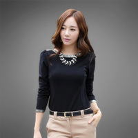 Free Shipping 2014 bronzier solid color basic shirt sweater slim shirt female long-sleeve