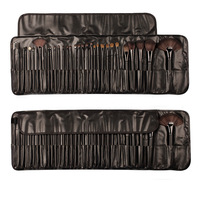 Big discount with Black Leather Case 32pcs Professional stage Cosmetic Facial Make up Brush Kit Makeup Brushes Tools Set