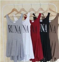 1pcs New 2013 the original single cotton knitting printing irregular waist dress sleeveless dress Free shipping