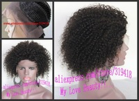 Black Women Fashion Short Kinky Curly Glueless Lace Front Wig Brazilian Virgin Remy human hair Wigs With Bleached Knots Stocks