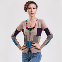 Spring and autumn color block women's patchwork cardigan outerwear plus size slim V-neck thin sweater