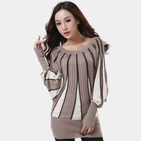Spring and autumn women's o-neck sweater batwing shirt plus size loose pullover sweater color block