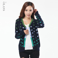 Spring and autumn women's plus size cardigan slim long-sleeve V-neck thin sweater outerwear