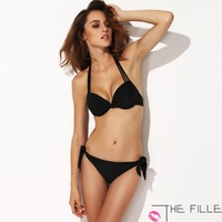 2014 THE FILLE  Women's Comfort Sexy Black  Halter Push up Padded Bra Bathing Swimsuit  Brazil cut free bind Free Shipping