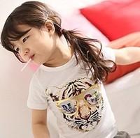 5pcs/lot girls and boys  fashion korea design tiger printed t shirt kids cotton tops 208
