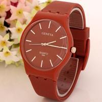 Casual Style Top Sale Stylish Men Fashion Silicone Thin Case 2014 Coffce Color Simple Design Quartz Wrist Watch Best Gift