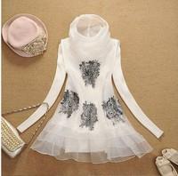 2014 spring lace turtleneck shirt basic organza shirt twinset sweater