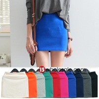 Summer New Fashion Pencil Skirts Elastic Waist Packaage Hip Female Mini Short Skirt All-Match Casual Skirt Candy Color 8040