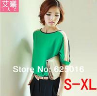 New 2014 Fashion Hot Selling  Women's Elegant shiort-Sleeve block color Chiffon Shirt Vogue Casual Slim Blouse Tops A00043
