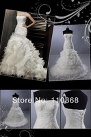 Wholesale Ivory Organza Strapless Scalloped Bridal Wedding Dress,Bridal Gown,New Real Wedding Bridal Dress-LB1851 Free Shipping