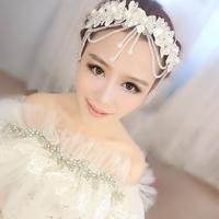 Hair accessory crystal handmade lace pearl tassel married Wedding tiara crown headband Diadema Adorno Tocado Novia Strass coroa