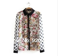 New in 2014 fashion & Personalized Floral long-sleeved turn-down collar chiffon spliced  hot sale women shirts free shipping