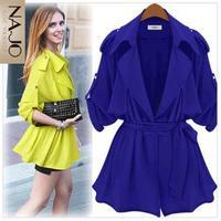 Fashion 2014 women's batwing shirt large lapel epaulette plus size loose thin trench outerwear female