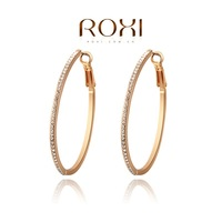 Wholesale ROXI Fashion Accessories Jewelry Gold Plated Austria Crystal with SWA Element CZ Diamond Hoop Earrings for Women