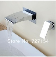 Free Shipping! Luxury Chrome Brass Waterfall Bathroom Basin Faucet Single Handle Sink Mixer Tap