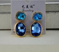 Free Shipping 2013 Fashion Shiny Crystal Blue Oval Gem Dangle Drop Earrings Fashion Jewelry for Women Dress Accessories