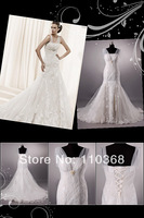 Hot Sale Ivory Lace Cap Sleeve Scalloped Bridal Wedding Dress,New Real Bridal Gown,Wedding Bridal Dress-LB1891 Free Shipping