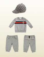 Retail spring 2014 New  Baby Boys 3pcs clothing set lon sleeve sweater shirt+kids pants+hat baby boys sport clothing