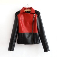 2014 New Women Leather Jackets Coat Lady Motorcycle Diagonal Zipper Faux Leather Outerwear Coat Spring Autumn Colorblock Clothes