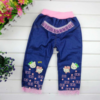 hellokity Single child girl leisure jeans children's high waist cowboy lace pants 4-8 years