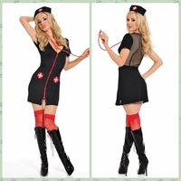 Cosplay sexy nurse tight-fitting outerwear one-piece dress mesh racerback hat