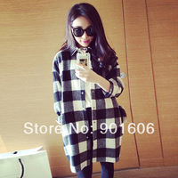2014 new fashion women autumn-winter long Sleeves blouse shirt shirts Single tops cotton Plaids Flannel blouse free size