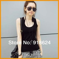 2014 Fashion Women sexy cotton bottoming the word  vest plus size basic full tank tops S M L XL XXL