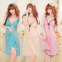 Free shipping 2014 Women Sexy Lace long Nightwear Dress Imitated Silk nightgown Robe Pajamas nightdress Sexy Lingerie in Stock