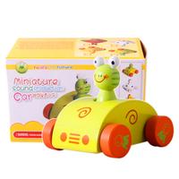 Free shipping + Wool vocalization barrowload cartoon baby wooden toy car 4