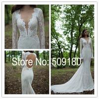 Elegent white lace deep V neck long sleeve back hole customized floor length wedding gown design PX168 wedding dresses 2014