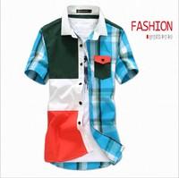 Free Shipping 2014 new fashion Stripe patchwork men Shirts,Free ironing  cotton  Slim Fit Stylish Men Dress Shirts  D479