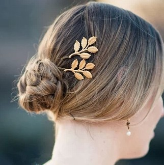 New Fashion hairwear gold plated leaf design Hairpin for girl women ladies' H270(China (Mainland))