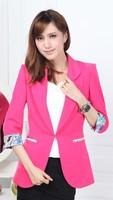 Free Shipping! 2014 Spring and Autumn Female Slim Fashion Small Suit Jacket, Female Large size OL Work Blazer Coat S-XXXXL