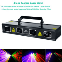 Arrival 4lens RGBY 4colors cool 1.1w DMX scan Laser projector Club Party Bar DJ light Disco Dance Professional Stage Light D97