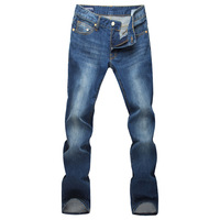 Ea men's clothing water wash denim blue mid waist slim 100% cotton aj jeans male straight denim trousers  free shipping