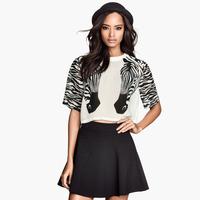 Unique zebra print o-neck loose chiffon white summer half sleeve plus size women's cropped blouse