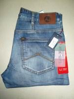 Aj fashion retro finishing elastic jeans male wearing white distrressed straight denim trousers pants  free shipping