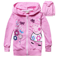 2014 New children clothing coat baby girl peppa pig spring hoodies long sleeve outerwear coat kid's sweater coat 6pcs/lot