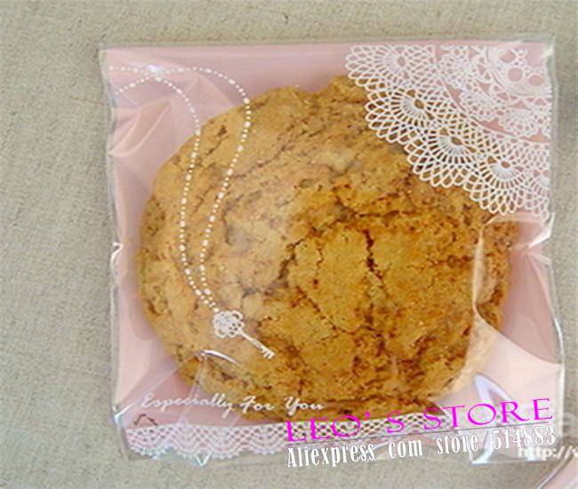 Großhandel selbstdichtend tasche 400pcs/lot, rosa spitzen druck bäckerei verpackungsbeutel, geschenk-paket lss051