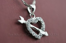 Romantic Korean Fashion Jewelry The arrow of Cupid White AAA Cubic Zirconia Heart Pendant necklace For