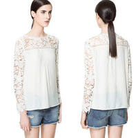 2014 women's fashion hook needle knitted patchwork cutout flower chiffon shirt lace shirt